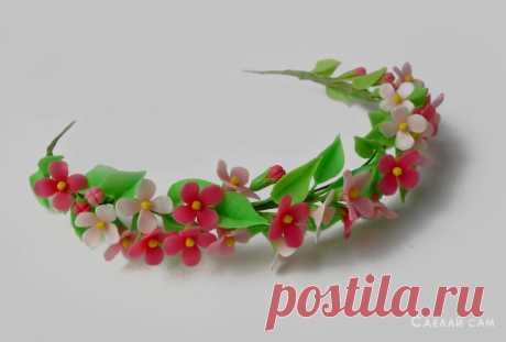 Цветочный ободок на голову из полимерной глины своими руками