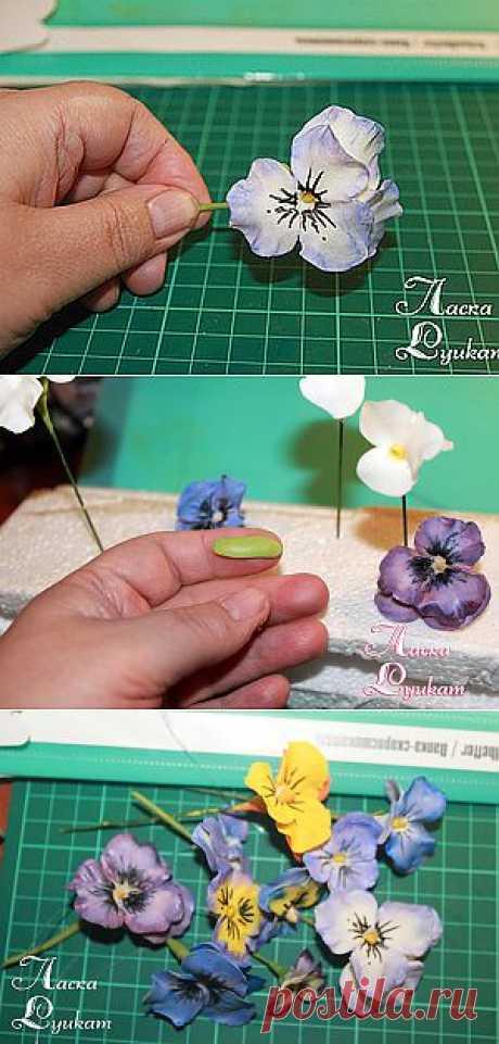 Цветы из холодного фарфора Анютины глазки ,часть 1 - Ярмарка Мастеров - ручная работа, handmade