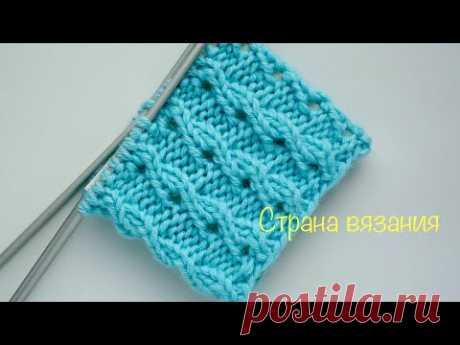 Узоры спицами. Ажурная резинка. Вязание по кругу. Knitting patterns. Openwork elastic band.
