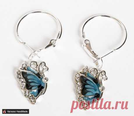 Серьги 'Голубая бабочка' ручной работы купить в Минске и Беларуси, цены на HandMade