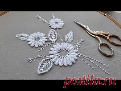 A graceful bouquet of white daisies | White work | Dimensional Embroidery