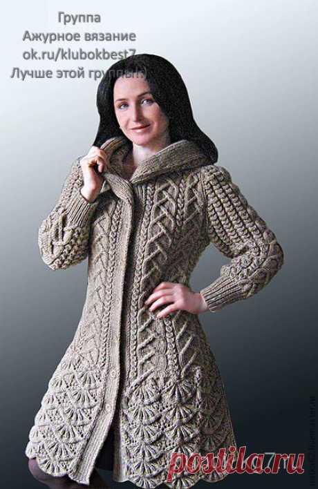 Пальто с каймой и капюшоном от Натальи Лок   Клубок