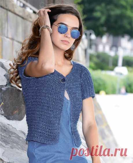Синий короткий жакет - схема вязания спицами. Вяжем Жакеты на Verena.ru