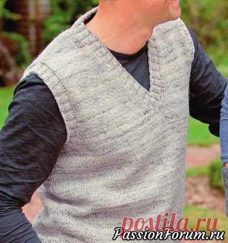 Мужская безрукавка с V-образным вырезом | Вязание для мужчин спицами. Схемы вязания