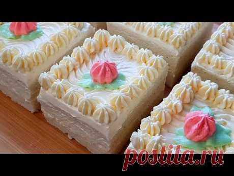 Бисквитное пирожное с масляным кремом // Сake with butter cream