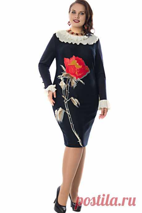 Эффектное платье с оборками Визел-3005 - интернет-магазин Moda-nsk
