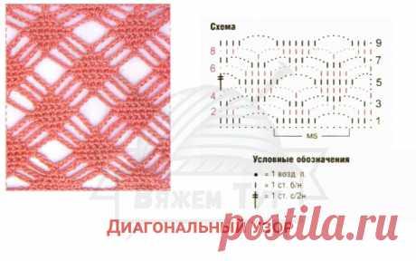 Диагональный узор Число петель кратно 12 + 1 + 1 возд п. подъёма Вязать по схеме. Начинать с петель перед раппортом, повторять петли раппорта, заканчивать петлями после раппорта. Выполнить 1 раз с 1-го по 9-й р., затем