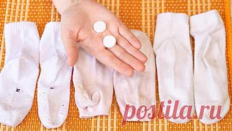 Беру 3 таблетки и НОСКИ БЕЛОСНЕЖНЫЕ! Легкий способ вернуть белизну белым...