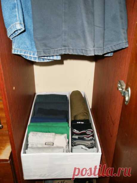 Если нет нормальных шкафов, помогут коробки и вертикальное хранение. Теперь в вещах всегда порядок | ЖИВИ ЛЕГКО! | Яндекс Дзен