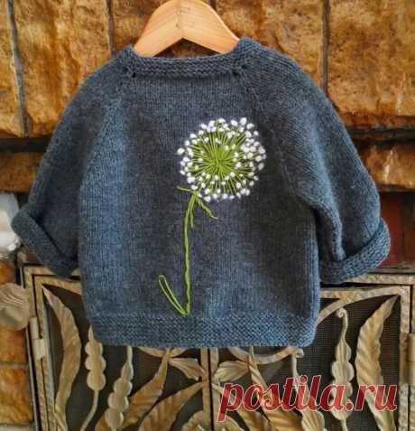 нежный одуванчик. вышиваем на вязаном изделии для детей.