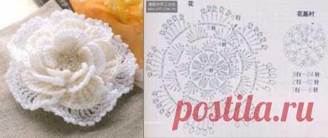 объемные цветы крючком схемы