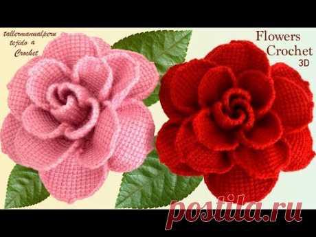 Как вязать крючком крупные розовые цветы в 3D пошаговое руководство по ремонту крючком