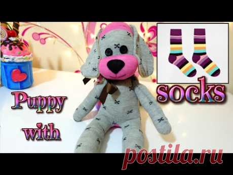DIY: how to make a puppy dog with socks   easy crafts   Isa ❤️