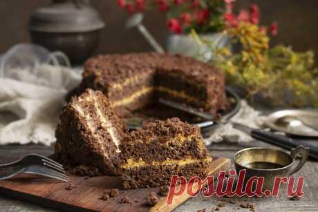 Простой шоколадный торт на кефире со сметанным кремом. Пошаговый рецепт с фото — Ботаничка.ru
