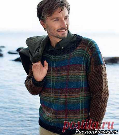 Мужской пуловер в шотландскую клетку. Описание | Вязание для мужчин спицами. Схемы вязания Изюминка этой модели в чередовании горизонтальных и вертикальных цветовых полос. Причем вертикальные полосы связаны крючком по готовому изделию.РАЗМЕРЫS (M) L (XL)ВАМ ПОТРЕБУЕТСЯПряжа (50% овечьей шерсти, 25% шерсти альпака, 25% вискозы; 50 г/110 м) – 2 (2) 2 (2) мотка темно-серой, 3 (3)...