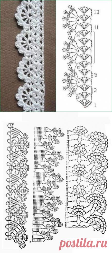 Интересные схемы для вязаной каймы