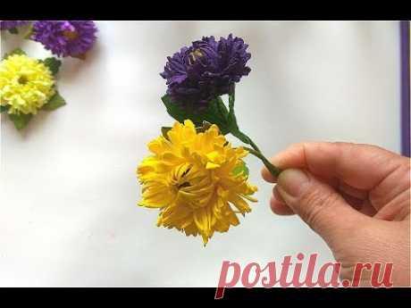 Маленькие хризантемы из фоамирана Chrysanthemum of foamIra