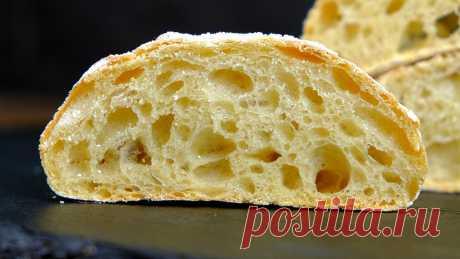 Чиабатта – хлеб без замеса в домашних условиях Чиабатта – очень вкусный, ароматный итальянский хлеб. Этот вид хлеба не требует замеса, поэтому рецепт чиабатты в домашних условиях простой и не требует специальных кухонных девайсов. В результате получается очень вкусная чиабатта с мягким мякишем, характерными крупными порами и хрустящей корочкой снаружи.