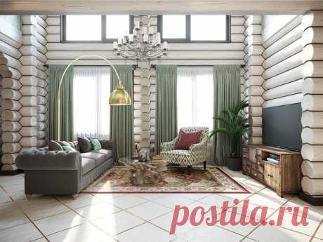 En el interior de la casa rural el diseñador Irina Vasiliev ha unido fácilmente los elementos tradicionales rusos, las cosas en el estilo del retro y los muebles modernos de la tienda INMYROOM Mirar enteramente: ¿Cómo a usted tal proyecto?