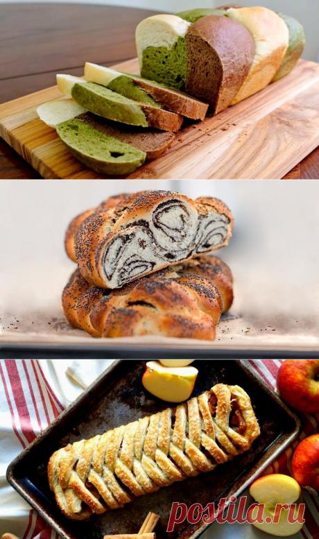 Плетенки из дрожжевого и слоеного теста - рецепты с яблоками, маком, трехцветный хлеб