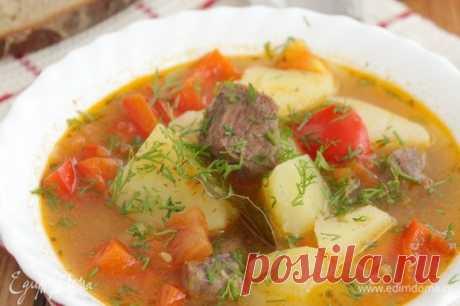 Шурпа. Ингредиенты: картофель, перец болгарский красный, морковь
