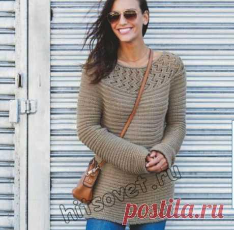 Вязание пуловера поперек с круглой кокеткой - Хитсовет