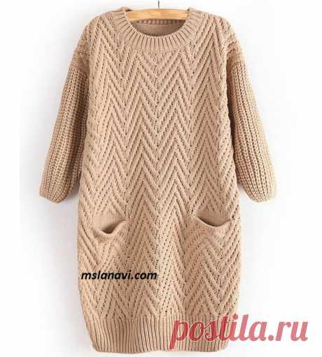 Платье-туника с узором | Вяжем с Лана Ви