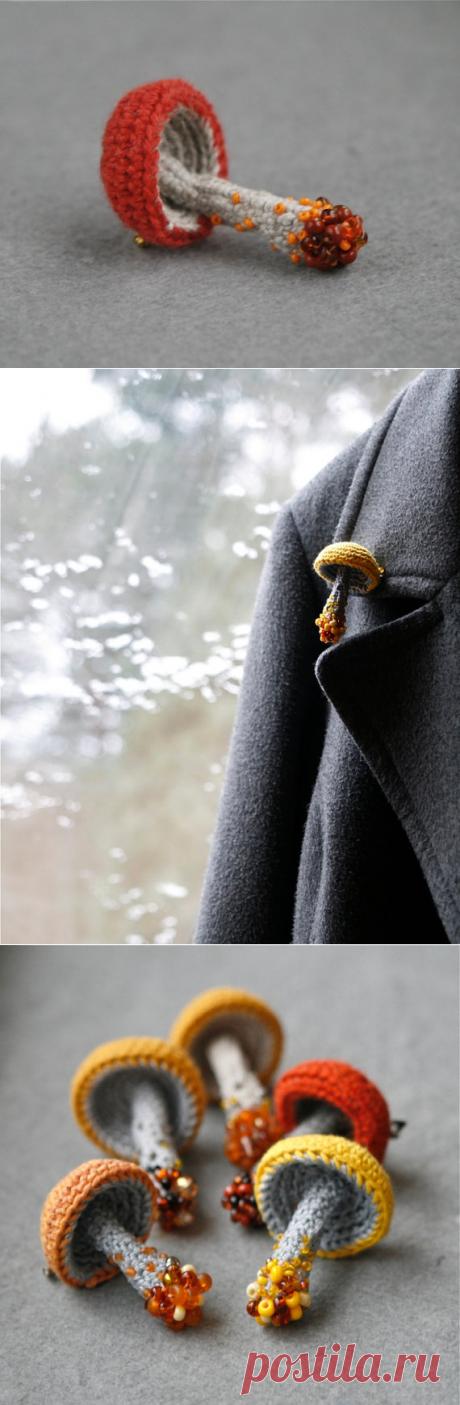 Mushroom crochet pin whimsical brooch woodland jewelry