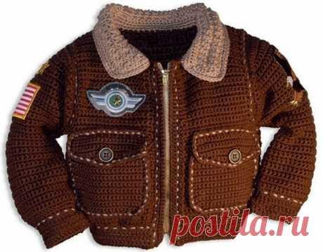 Вязаная куртка «Пилот» для мальчика крючком. Описание и схемы.