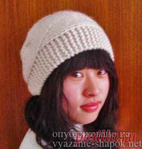 Интересная модель шапки спицами от китайских рукодельниц | ВЯЗАНИЕ ШАПОК: женские шапки спицами и крючком, мужские и детские