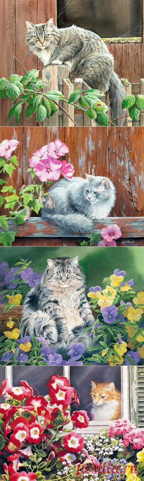 Кошки в живописи Susan Bourdet