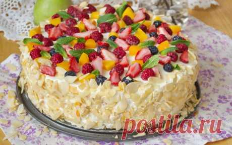Бисквитный торт с фруктами и сливками - Домашний Ресторан Дорогие друзья, и гости сайта Домашний Ресторан! В преддверии праздников всегда, очень актуальна тем