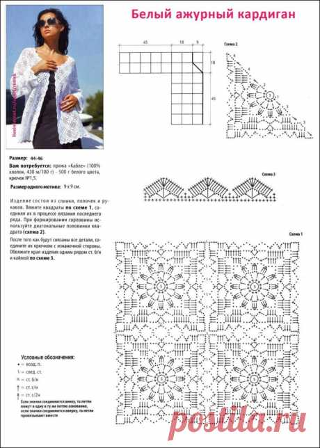 Роскошный жакетик из мотивов. Схемы, описание вязания (Вязание крючком) – Журнал Вдохновение Рукодельницы