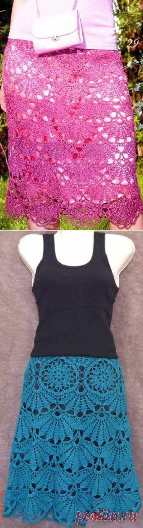 Ажурная юбка крючком схема.