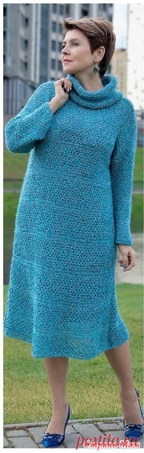 Платье Лазурный океан спицами. Инструкция. Verena №5 2019 Россия
