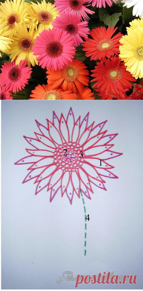 We embroider with tapes. Gerbera.