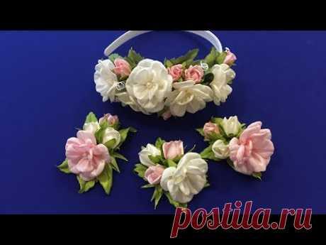 Easy ribbon flowers.DIY/Flores fáciles de la cinta/Несложные цветочки из лент, 2.5 см