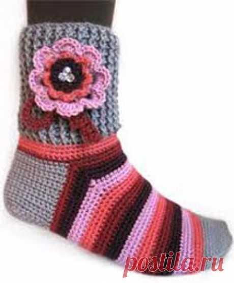 Вязание носков крючком для начинающих (способ 1)