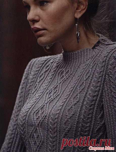 . Серый вязаный пуловер - Вязание - Страна Мам