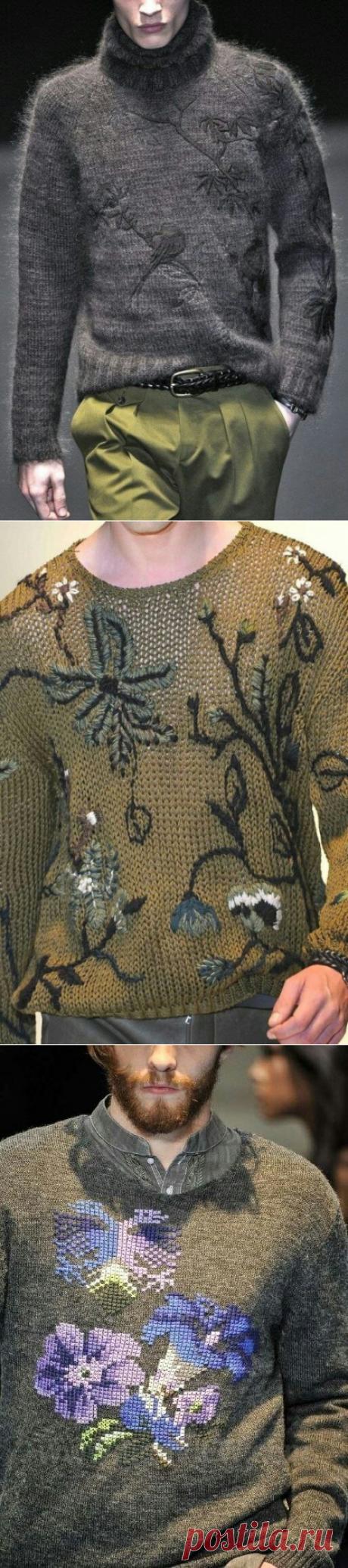 Вышивки на мужских свитерах (подборка) / Мужская мода / ВТОРАЯ УЛИЦА