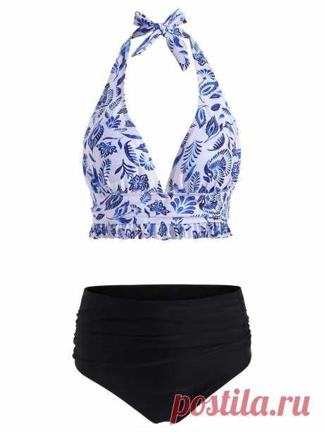 [37% OFF] 2020 Halter Printed High Waisted Frilled Bikini Swimsuit In OCEAN BLUE | DressLily