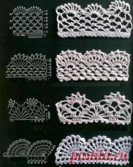 Несколько схем для вязания каймы крючком