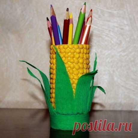 Карандашница-кукурузка — Поделки с детьми
