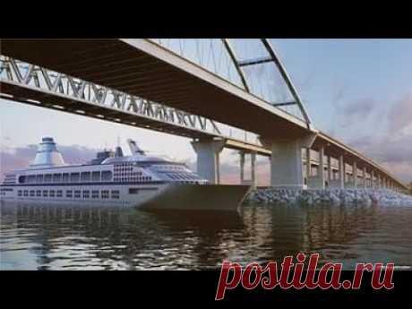 Ужас! Как корабли проходят по аркой Крымского моста. - YouTube