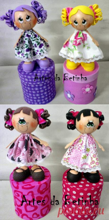 Artes da Betinha: Bonecas 3d - Lata de Mucilon