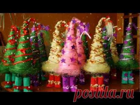 ЕЛКА-КОНУС ИЗ НИТОК, ТКАНИ И ЛЕНТ СВОИМИ РУКАМИ, новогодняя елка, канзаши,