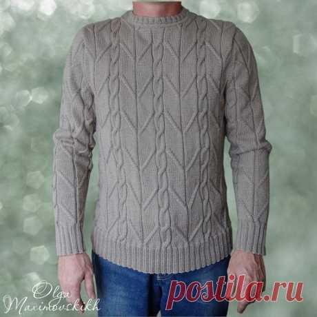Мужской пуловер с красивым узором