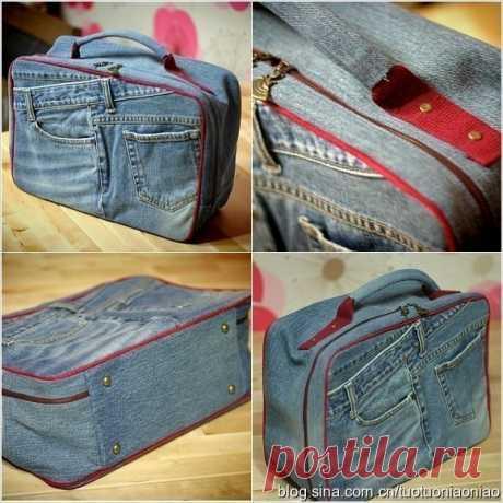 Чемоданчик-сумка из старых джинсов
