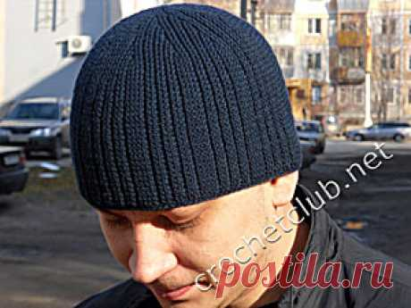 The men's cap connected by a hook - Knitting by the Hook. Nastik's blog
