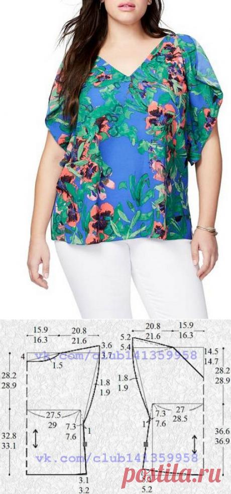 Блузка с летучими рукавами сшить фото 442